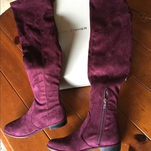 MARC FISHER WINE OVER KNEE BOOT FAUX SUEDE
